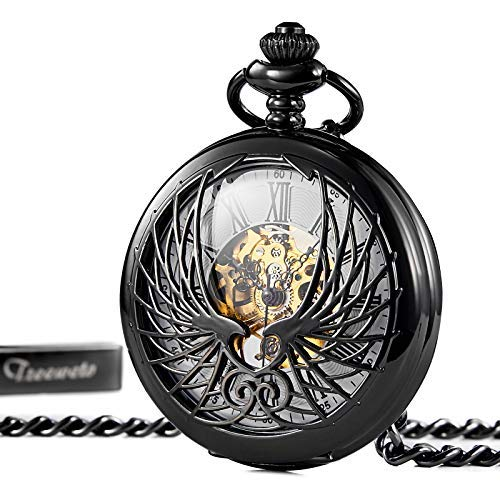 (TREEWETO Skeleton Eagle Wings Design Black Case Roman Numeral Markers Mechanical Pocket Watch)