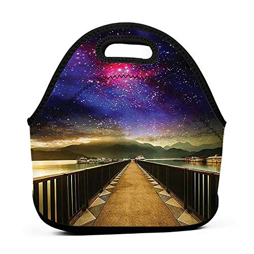 Removable Shoulder Strap Galaxy Universe,Galaxy Cosmos and Wooden Bridge Panoramic View Celestial Print,Fabric,Blue Magenta Black,school wheel bag and lunch bag for girls