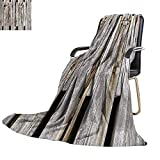 YOYI-home Digital Printing Blanket Old Weathered Wood panles with Rusty Metal Bolts Lightweight Blanket Extra Big 80''x60''