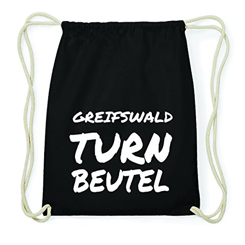 JOllify GREIFSWALD Hipster Turnbeutel Tasche Rucksack aus Baumwolle - Farbe: schwarz Design: Turnbeutel zd0LNiK7LL