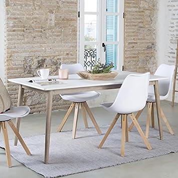 Naos Table Rectangulaire 160 Blanc Taupe Bois 160x90x75