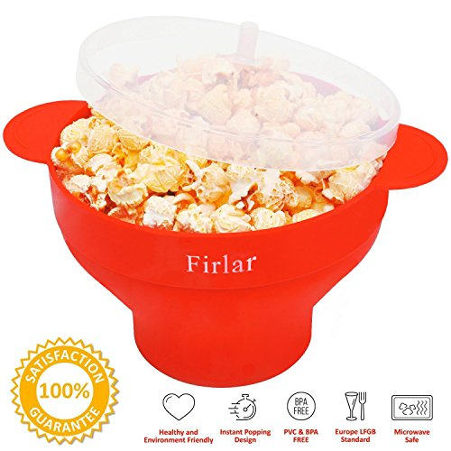 Firlar Microwave Popcorn Popper Sturdy Convenient Handles, Silicone Popcorn Maker, Collapsible Bowl with Lid (Red)