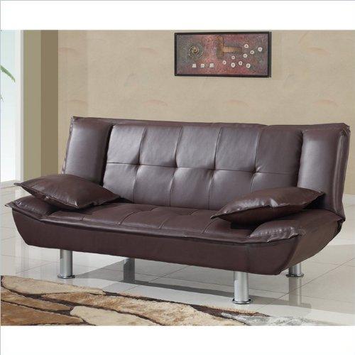 Global Furniture PVC Plastic Sleeper Matching Sofa, Black/Silver Legs