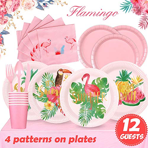 Partybus Pink Flamingo Party Supplies Set - Serves 12, 93 Ct, Tropical Hawaiian Luau Theme Party Disposable Tableware Kit for Boys Girls Kids Birthday Decorations, Includes Dinner Plates, Dessert Plates, Napkins, Cups, Table Cloth, Silverware