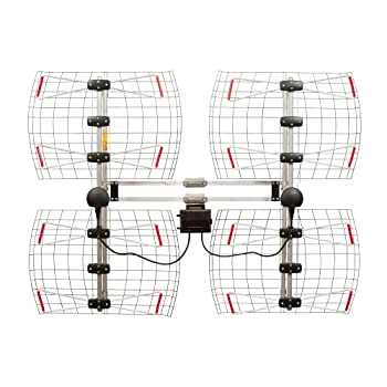 Image of Antennas Direct 8-Element Bowtie TV Antenna, 70 Miles Range, Multi-directional, Indoor, Attic, Outdoor Applications, Special Bracket to Turn Both Panels, All-Weather Mounting Hardware, Adjustable Mast Clamp, 4K Ready, Silver - DB8e - DB8-E TV Antennas