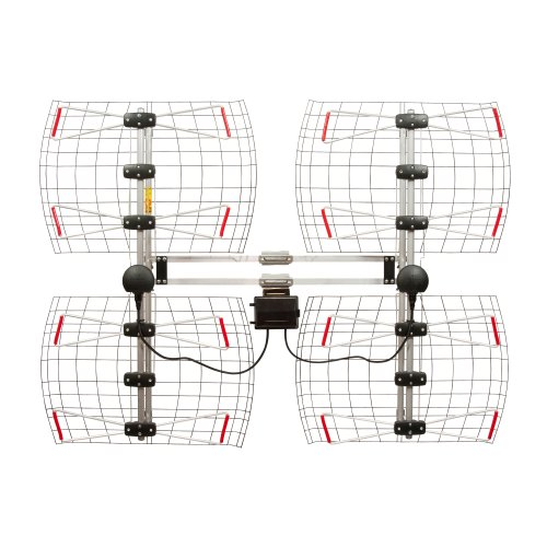 Antennas Direct 8-Element Bowtie TV Antenna, 70 Miles Range, Multi-directional, Indoor, Attic, Outdoor Applications, Special Bracket to Turn Both Panels, All-Weather Mounting Hardware, Adjustable Mast Clamp, 4K Ready, Silver - DB8e - DB8-E