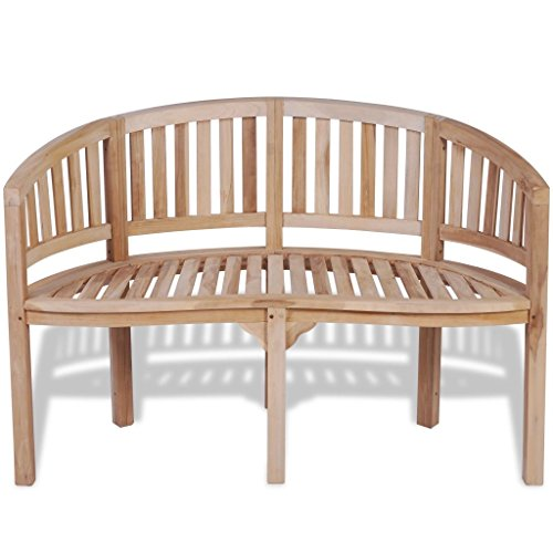 Seater Teak Garden - Tidyard Teak 2-Seater Banana-Shaped Bench with 2 Seats 47.2 59.4 Inches for Garden Patio