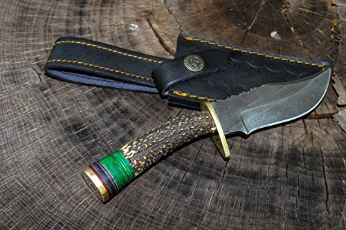 8 Inch Fixed Blade Custom Hand Made Damascus Steel Hunting Bowie Knife Deer (Stag) Antler Handle With Leather Sheath