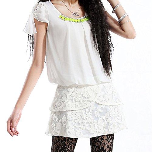 Party Line Sleeve LH88357 Mini Dress DISSA Retro Short Women A Summer Dress White xYvwxAq1