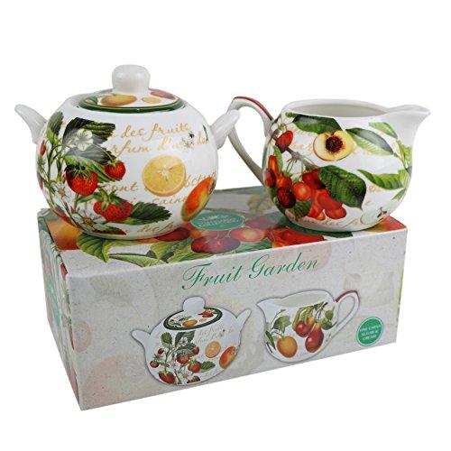Leonardo Classic Cream & Sugar Set By Fruit Garden Bowl & Jug Gift Boxed