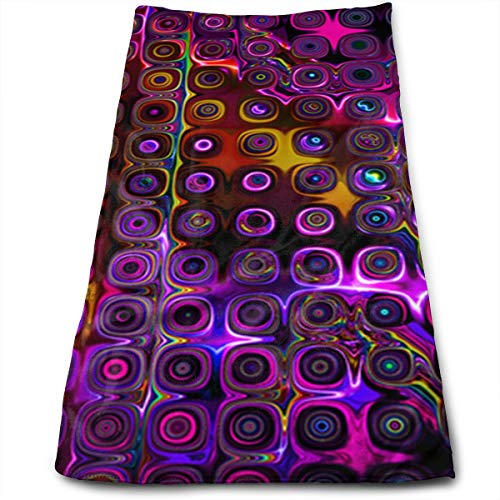 HJOFK Face Towels Hand Towel Workout Face Towels Make-Up Wash Cloths with Disco Club NEON Lights Pattern for Household Items for $<!--$10.50-->