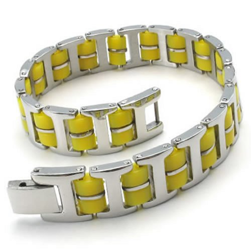 KONOV Bracelet Bangle, Stainless Steel Rubber, Unisex Mens Womens, Color Yellow Silver (Contemporary Steel Bangle)