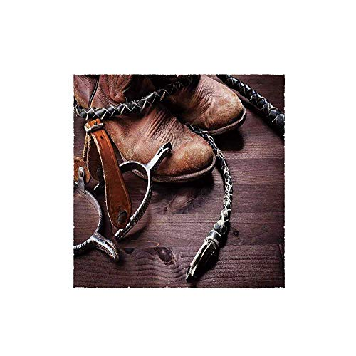 Western Spur Toilet Paper Holder - C COABALLA Western Decor Durable Square Small Towel,Authentic Old Leather Boots and Spurs Rustic Rodeo Equipment USA Style Art Picture for Bathroom,13