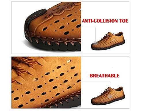 Shoes Men Yahao Driving Walking Outdoor Retro Leather up Yellow Lace Flats Loafers Shoes Summer Casual Breathable rBIwxISdq