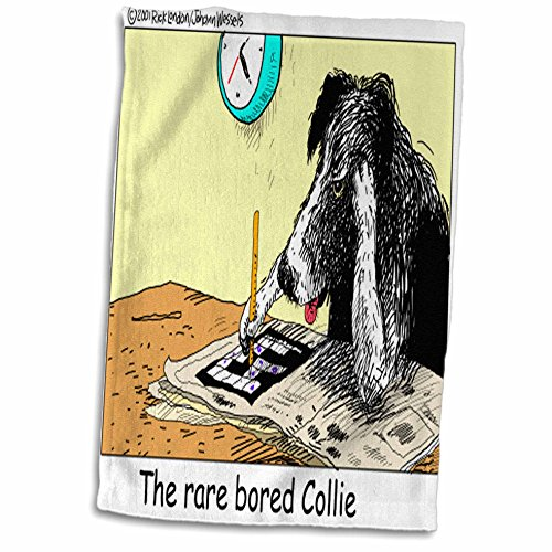 3dRose Londons Times Funny Dogs Cartoons - Bored Border Collie - 15x22 Hand Towel (twl_1469_1)