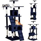 Yaheetech Large Cat Tree Tower Toy Scratch Post Pet House with Toy Mice Navy Blue 73 Inch