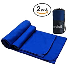 """2Pack Microfiber Travel Sports Towel by Alamoha. Super Absorbent-Compact-Lightweight and Fast Drying Swimming Towel (Available in Large- 51"""" X 31.5"""", XL- 63"""" X 31.5"""") with Hand/Face Suede Towel & FREE Storage Bag. Suitable for Outdoors,Mountain Climbing,Backpack,Camping,Hiking,Cycling,Swimming Pool,Beach,Gym,Yoga or Bath"""