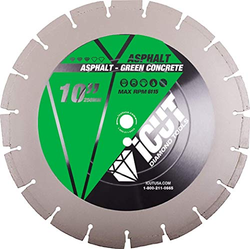 (10 Inch Asphalt and Green Concrete Premium Diamond Blade for cutting Asphalt, Green Concrete and Abrasive materials - use Wet or Dry (Diameter 10