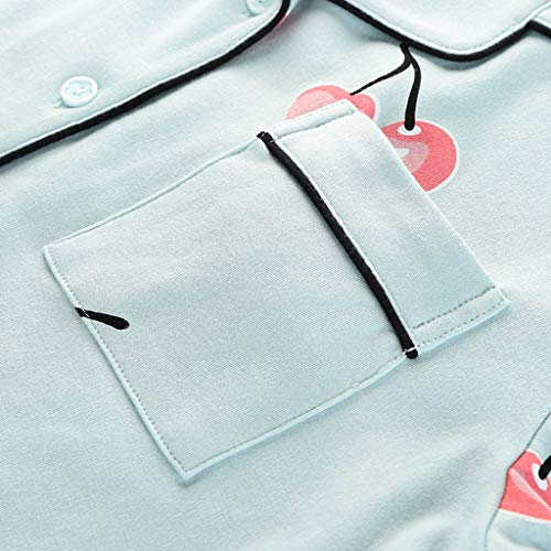Blue Lunghe Maniche Pigiama Collo In A L Dimensioni Huxiuping Cotone Da colore E Donna Blue Con V Cardigan qwq6FCS