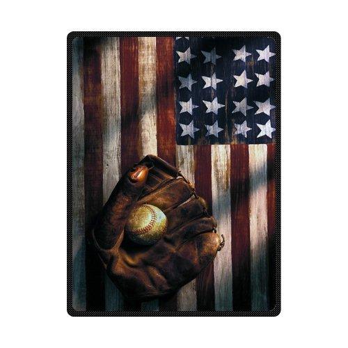 American Flag Baseball 58インチx 80インチ(大)フリースブランケット B00P7LRY4M