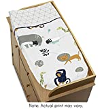 Sweet JoJo Designs Turquoise and Navy Blue Safari Animal Changing Pad Cover for Mod Jungle Collection by