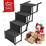 Dog Car Step Stairs Foldable - SUKI&SAMI Metal Frame Folding Dog Ramp for Car,Lightweight Portable Large Dog Ladder,for Dogs and Cats,SUVs and Trucks,Couch and Bed,Protect Pets' Joint and Knee
