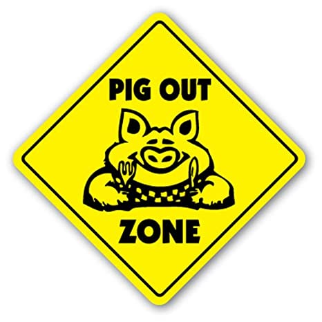 Amazon.com: [signjoker] Pig Zona de Out Sign BBQ Barbacoa ...