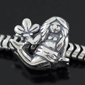 Sacred Zodiac Virgo .925 Sterling Silver charm Fits Pandora, Biagi, Troll, Chamilla and Many Other European Charm #EC526