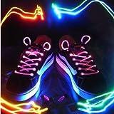 CAMTOA® Lacets Multicouleurs Lumineux LED Clignotants Fashion Tendance + Piles claire petit fête disco dance étanches 19 couleurs disponible mixe