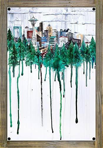Northwest Art Mall Seattle, Washington Skyline Through Trees Metal Print on Reclaimed Barn Wood by Ursula Barton (12
