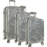 Nautica Men's Shipyard 3 Piece Hardside Suitcase Set, Map-Grey For Sale