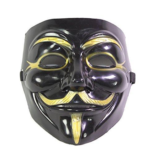 V for Vendetta Guy Fawkes Anonymous Costume Halloween Mask Black -