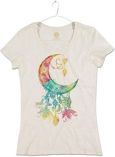 Camiseta Mujer Luna con Plumas atrapasueños algodón orgánico ...