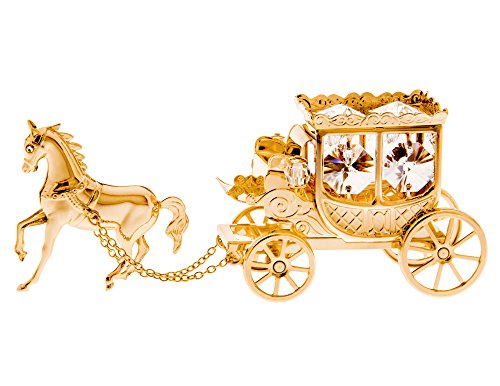 Stagecoach with Horse 24k Gold Plated Metal Figurine with Sparkling Clear Spectra Crystals by Swarovski