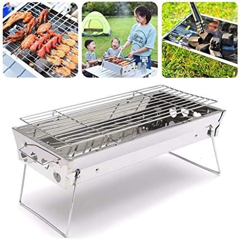 Griglie a carbonella per barbecue e barbecue per barbecue all'aperto, in acciaio inox, per escursionismo, campeggio, 45 x 22 cm