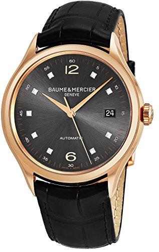 Baume-Mercier-Clifton-Mens-18K-Rose-Gold-Automatic-Watch-39mm-Analog-Grey-Face-Swiss-Luxury-Diamond-Dress-Watch-For-Men-10180