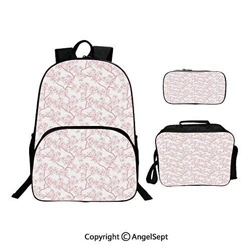 Fashion Casual School Student Backpack,Cherry Blooming Butterflies over Stripes Sunbeams Curvy Lines Ornamental Artwork Pink Gray,Lightweight Daypack With Lunch Bag And Pencil Case For - Hobo Curvy