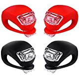 Malker Bicycle Light Front and Rear Silicone LED Bike Light Set - Bike Headlight and Taillight,Waterproof & Safety Road,Mountain Bike Lights,Batteries Included (2pcs Red & 2pcs Black)