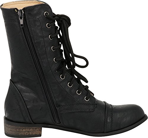 Toe Calf Pu Round Low Boot Chunky Cambridge Up Select Black Combat Women's Mid Lace Heel Closed BIInTCqw
