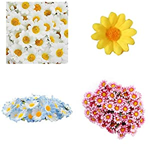100Pcs Gift Flowers Heads Artificial Daisy Silk Decoration Wedding Party Bouquet Home Decor Chrysanthemum Floral Gerbera,Yellow 4