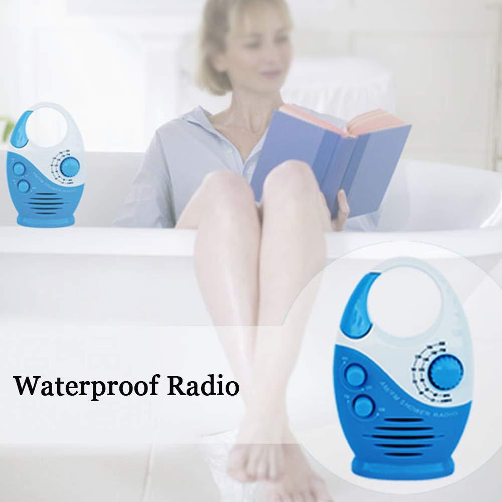altavoz impermeable para ba/ño asa superior para insertar tarjetas Radio de ducha AM FM bot/ón port/átil para colgar volumen ajustable