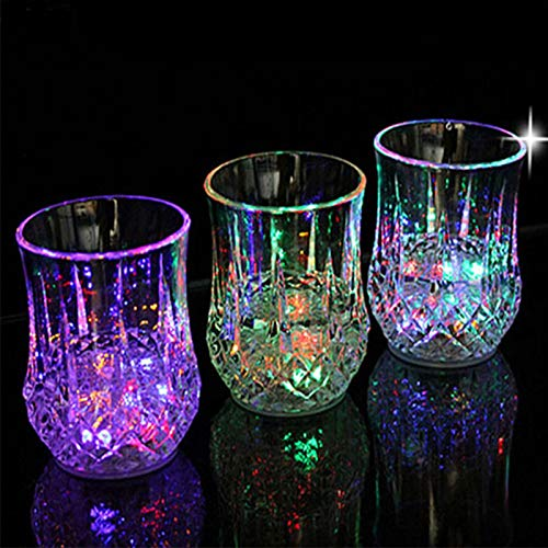 Acrylic LED Automatic Flashing Cup - Liquid Activated Multicolor LED Glasses Mug Tumblers, Flashing LED Light Cup for Christmas, Party, Night Clubbing, Birthday, Disco, 6 oz 8Pcs -