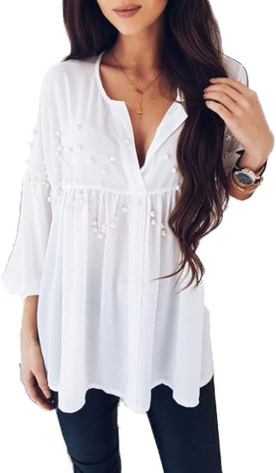 Summer Ladies Blusa Casual Suelta Plisada Gasa Camisas ...