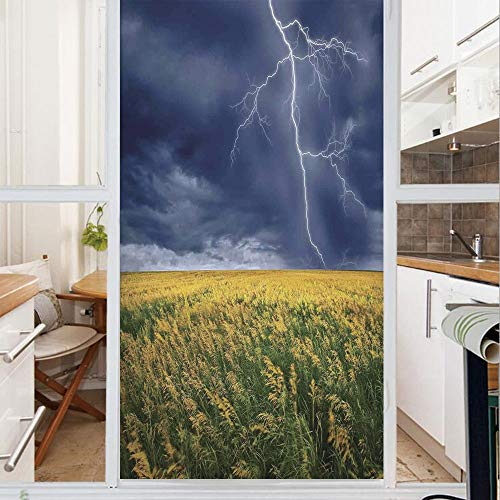 Decorative Window Film,No Glue Frosted Privacy Film,Stained Glass Door Film,Lightning Bolt above the Seasonal Field Electric Vibes Mother Nature Theme Image,for Home & Office,23.6In. by 59In Yellow Bl