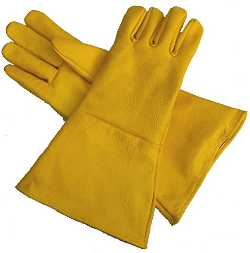 Leather Gauntlet Gloves Yellow Small