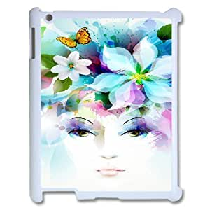 3D IPad 2,3,4 2D Case Art Girl Eyes Flowers Petals Butterfly Leaves Spray, IPad 2,3,4 2D Case Butterfly For Teen Girls Protective, [White] by ruishername