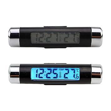 Coche Digital LCD Termómetro Reloj Calendario Automotriz Reloj de luz de Fondo 2 en 1