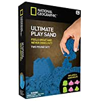 National Geographic Play Sand - 2 LBS of Sand with Castle Molds and Tray (Blue)