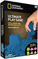 National Geographic Play Sand - 2 LBS of Sand with Castle Molds and Tray (Glow-in-the-Dark!)