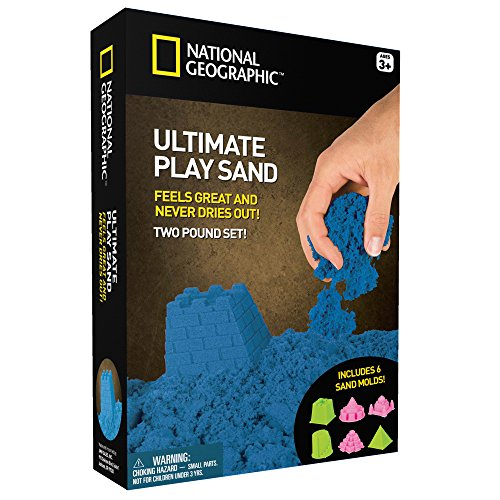 National Geographic Play Sand - 2 LBS of Sand with Castle Molds and Tray (Blue) - A Kinetic Sensory Activity (Sand Play Kids)